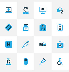 Medicine colorful icons set collection of pill vector