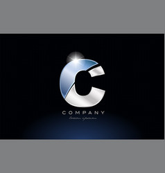 Metal blue alphabet letter c logo company icon vector
