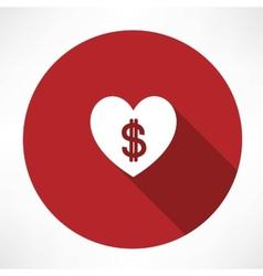 Money heart icon vector image