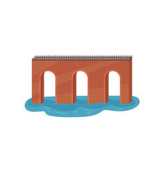 Old brick arch bridge construction for vector