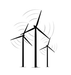 Onshore wind turbine towers renewable energy farm vector