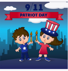 patriot day america concept background cartoon vector image