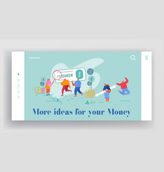People get and signing paycheck website landing vector