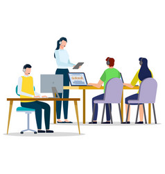 People online learning with pc in office vector