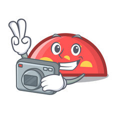 photographer semicircle mascot cartoon style vector image