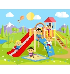 Playground with slide and children vector