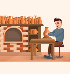 Potters wheel concept background cartoon style vector