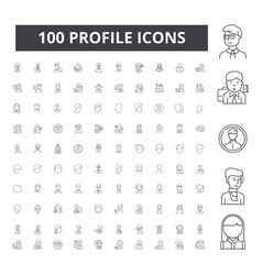 Profile line icons signs set outline vector
