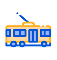 Public transport trolley bus sign icon vector