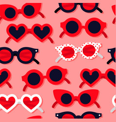 red heart shape sunglasses seamless pattern vector image