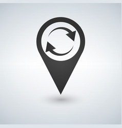 Refresh map marker icon vector
