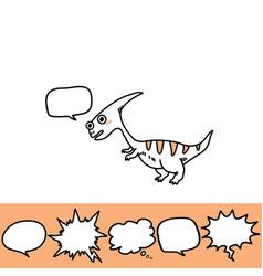 Roaring hand drawn dinosaur and speech bubbles set vector