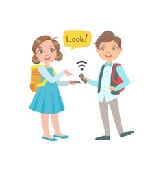 Schoolkids Boy And Girl Chatting And Exchanging vector