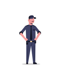 security guard man in black uniform police officer vector image