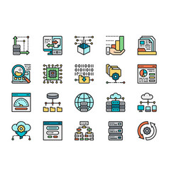 set data analysis color line icons hosting vector image