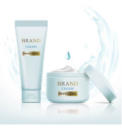 Set of containers with cosmetic cream splashes vector