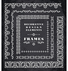 Set of Retro Vintage Frames and Borders Chalk vector