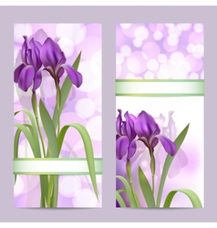 Set spring banners with purple iris flowers vector