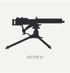 Silhouette line flat military icon - vector