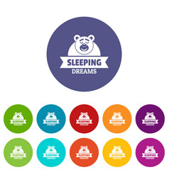 Sleeping dream icons set color vector