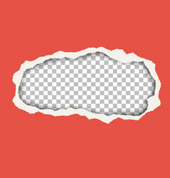 snatched hole in red paper sheet vector image