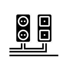 socket and antenna output installation glyph icon vector image