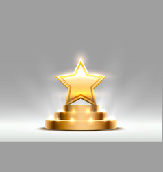 star best podium award sign golden object vector image