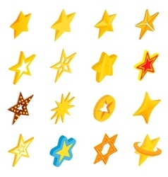 Star icons set isometric 3d style vector