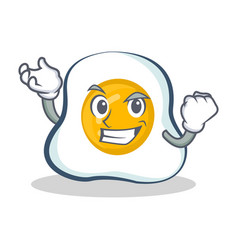Successful fried egg character cartoon vector