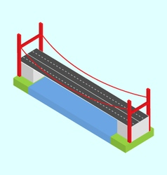 The bridge over the river 3d isometric vector