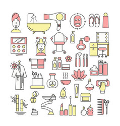 thin line art style design spa icon set vector image