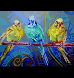 Three parrots pastel vector