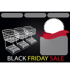 Three Shopping Carts and Banner in Black Friday vector image