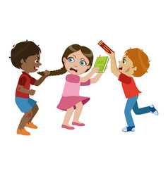 Two boys bullying a girl part of bad kids vector