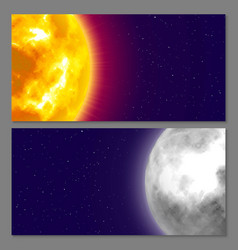 Two cards with celestial bodies moon and sun vector