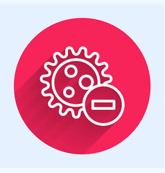 white line negative virus icon isolated with long vector image