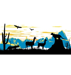 Wild panther llama and eagles in morning vector