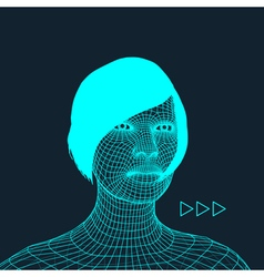 Woman Head of the Person from a 3d Grid vector