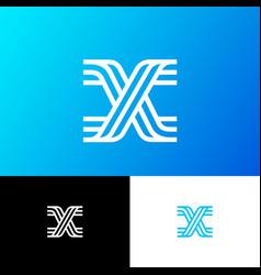 x letter monogram web ui network lines vector image
