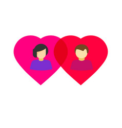 man and woman in love in two hearts together vector image