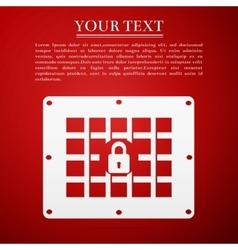 Prison window flat icon on red background vector