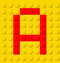 red letter a in yellow plastic construction kit vector image