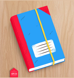Top view of closed notebook vector