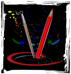 abstract dance of pencil vector image