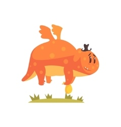 Chubby orange monster flying wearing a hat alien vector