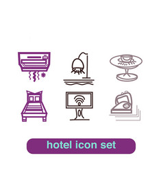 hotel service icon thin line art set pixel perfect vector image