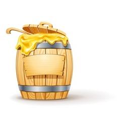 wooden barrel full of honey vector image vector image