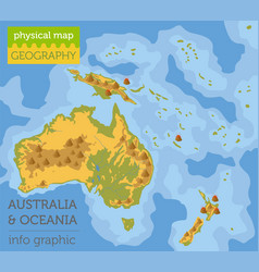 australia and oceania physical map elements build vector image
