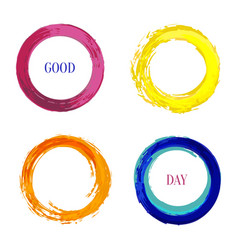 bright set with rainbow inked circle for frames vector image vector image