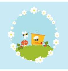 Cartoon beehive honey bees flowers fruits vintage vector image